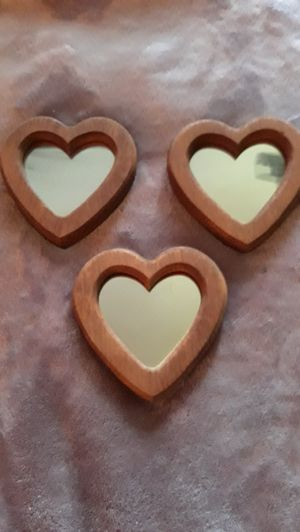 Set of 3 Wooden Hearts/Mirrors for Sale in Winston-Salem, NC