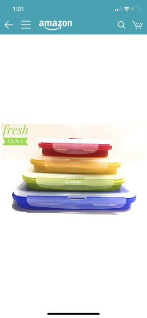 Folding Food Containers- Silicone BPA Free- Leak proof Airtight lids- microwave freezer safe- lunch bento box storage collapsible stackable meal prep for Sale in Queens, NY