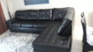 SPRESSO SOFA LEATHER BLACK. DELIVERY FREE for Sale in Hollywood, FL