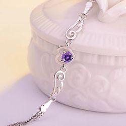 Sterling Silver Winged Bracelet With Purple Gems for Sale in Milton,  FL
