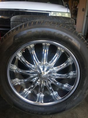 Chevy Tires and Rims. 10 x 20s. 80% tread left. $550.00 for Sale in Salinas, CA