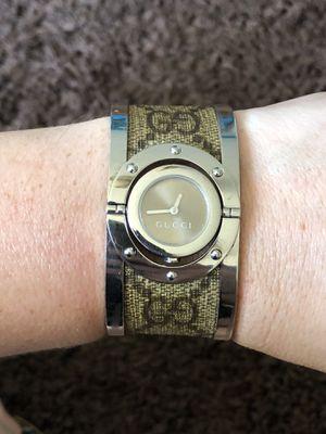 Gucci women's twirl brown stainless steel GG supreme print canvas bangle bracelet wristwatch for Sale in McDonough, GA