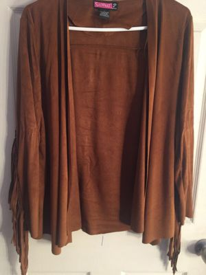 Brown Fringe Faux Suede Cardigan for Sale in Boston, MA
