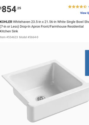 """Kohler Farmhouse K-5664-0 Whitehaven Self-Trimming 23.50"""" x 21.56"""" x 8"""" Under-Mount Single-Bowl Sink Apron in White Retails $900 with Taxes!!! for Sale in Rialto, CA"""