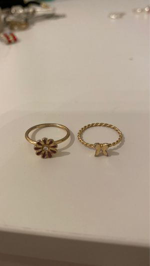 Cute pair or rings flower and butterfly (meant for tiny finger, or half or a finger) for Sale in Lake Forest, IL