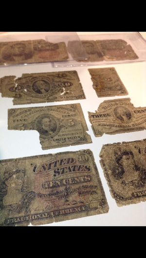 VALUABLE Set 9 Pieces1862 to 1876Fractional US Currency- Unusual Small Denomination Civil War Currency- Some Rare Pieces for Sale in Chantilly, VA