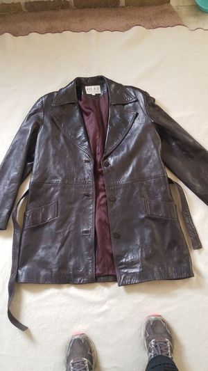 Brown leather Trench style coat for Sale in Austin, TX