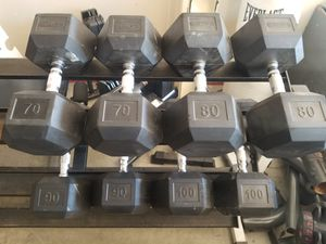 Rubber Dumbbell Set 70/80/90/100lbs Dumbbells- 680 lbs - LIKE NEW, HUGE for Sale in Mansfield, TX