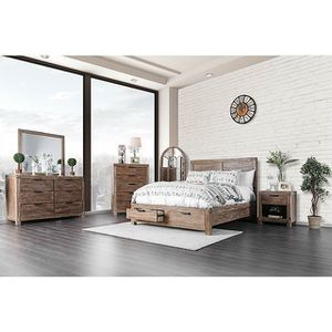 4-Pc Light Oak Solid Wood Queen W/ Drawers Bedroom Set for Sale in Fresno, CA