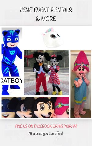 Mascots, Costumes, Mickey & Minnie Mouse, Troll Poppy, Cat Boy, PJ Mask. for Sale in Ellenwood, GA