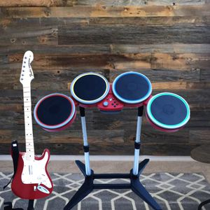 Rock band drum set and fender Stratocaster Xbox one guitar for Sale in Grand Rapids, MI