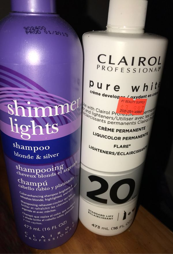 Shimmer Lights Shampoo and Pure White Creme Developer , Great For Wigs !