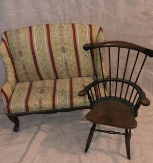 Upholstered Display Couch Settee & Antique Wood Seat for Dolls or Teddy Bears for Sale in Lancaster, CA