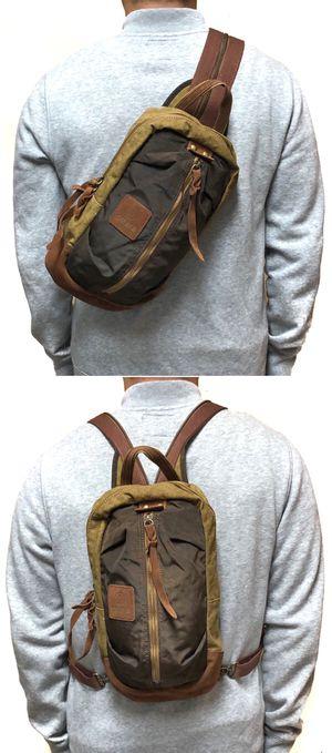 NEW! Premium 2 in 1 leather Crossbody Backpack Sling Bag/Backpack Travel Bag gym bag work bag school hiking biking bag shoulder bag side bag for Sale in Carson, CA