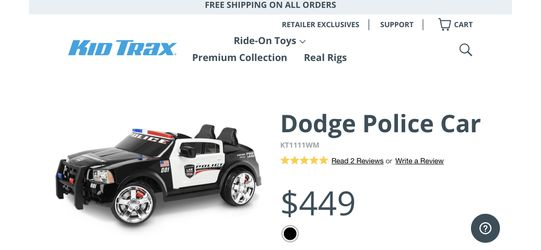 Kid Trax Electric Ride-On Dodge Police Car (2 Person) for Sale in Fairfax,  VA