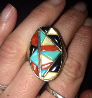 Navajo Coral & Turquoise, Sterling Silver Ring for Sale in Junction City, OR