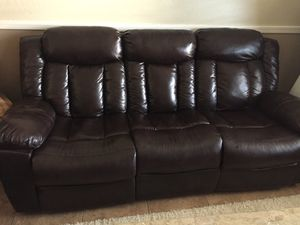 Beautiful brown faux leather sofa set for Sale in Surprise, AZ