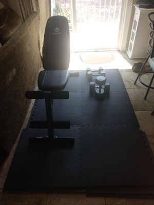"""4'-1"""" Marcy Workout Bench / 2 Sets of Hand Weights & 10 - 25""""x 25"""" Connectable Floor Pads for Sale in Murfreesboro, TN"""