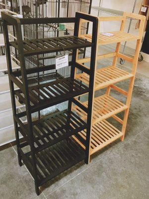 New in box $30 each 19x12x45 inches tall bamboo bookshelf shelf 4 tiers natural or black color for Sale in Whittier, CA