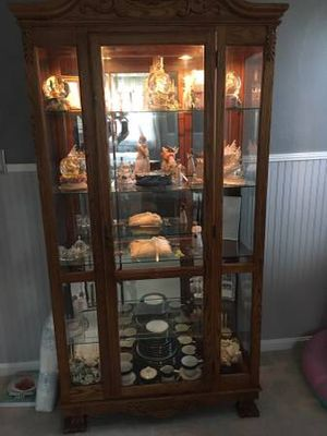 Curio Cabinet solid oak for Sale in Vinton, VA