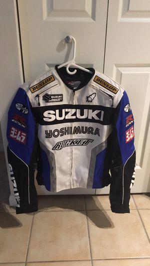 (SMALL SIZE) Motorcycle Jacket. Suzuki GSXR white and blue for Sale in Tampa, FL
