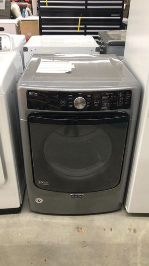 Maytag - 7.4 Cu. Ft. 9-Cycle Electric Dryer with Steam - Metallic Slate Model:MED5500FC SKU:4978230 for Sale in Houston, TX