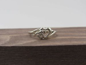 Size 5 10K White Gold Double Heart Diamond Band Ring Vintage Estate Wedding Engagement Anniversary Gift Beautiful Elegant Unique for Sale in Lynnwood, WA