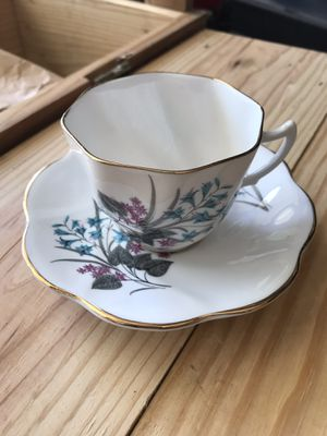 England crown fine bone China lily flora Tea Cup & Saucer Set for Sale in Portland, OR