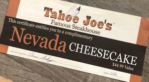Tahoe Joe's certificate *AVAILABLE* for Sale in Sacramento, CA