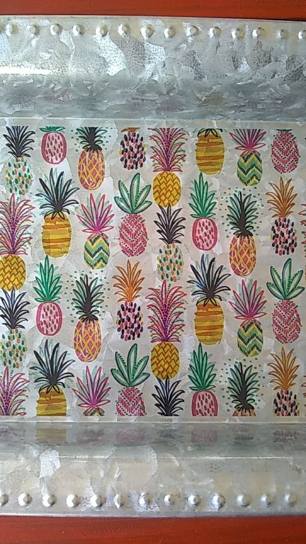 "New Large Galv Pineapple Party Serving Tray 26""x 8"""
