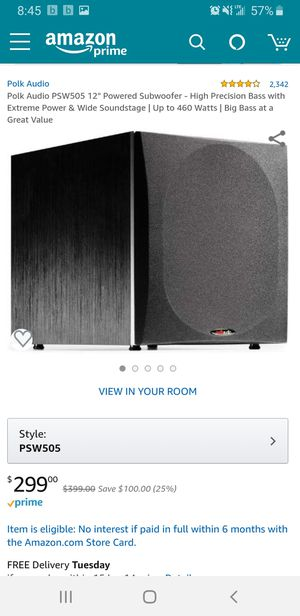 Polk audio subwoofer . for Sale in Redwood City, CA
