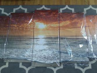 Dramatic Orange Sea Sky Canvas Set Of 5 for Sale in Nashville,  TN
