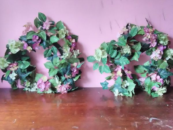 2 Artificial Flower Wreaths