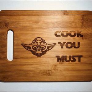 Yoda cook you must laser engraved cuttingboard Christmas gift kitchen pop for Sale in Los Angeles, CA