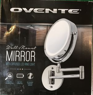 Ovente Wall Mount Mirror with LED Ring Light for Sale in Las Vegas, NV