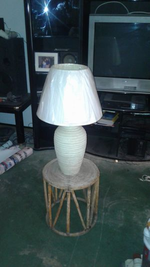 LAMP WITH RATTAN BAMBOO LAMP STAND NEW SHADE for Sale in Mesa, AZ