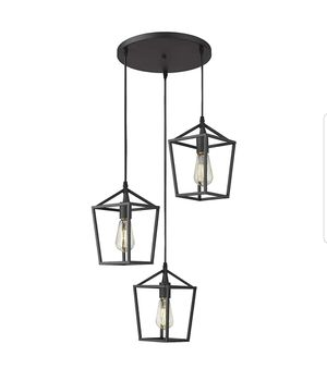 Emliviar 3-Light Cluster Pendant Lighting, Industrial Kitchen Island Light, Black Finish, 20065D-3 BK for Sale in Rossville, GA