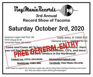 Vinyl Mania Record Show Saturday 10/3 for Sale in Tacoma, WA