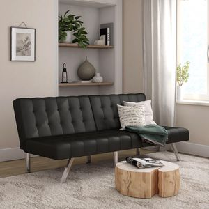 Mainstays Morgan Convertible Tufted Futon, Black Faux Leather for Sale in Stockton, CA