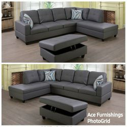 Brand New Grey Leather Sectional With Storage Ottoman for Sale in Spanaway,  WA