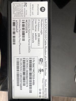 Motorola Modem cum Router Model no D274 —-$35 for Sale in Sandy Springs, GA
