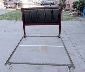 Beautiful Queen Size Black Leather Brown Wood Bedframe for Sale in Fort Worth, TX