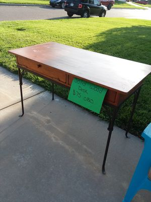 Wooden desk with wrought iron for Sale in Wichita, KS