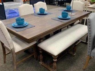 ,,table Chairs bench.. Dining Room Set. Regent grayish Brown. Delivery Available for Sale in Spring,  TX