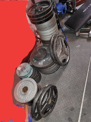 Weight plates , 2 bench press set ups for Sale in Garland, TX