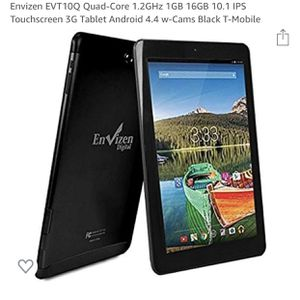 Envizen EVT10Q Quad-Core 1.2GHz 1GB 16GB 10.1 IPS Touchscreen 3G Tablet Android 4.4 w-Cams Black T-Mobile Envizen EVT10Q Quad-Core 1.2GHz 1GB 16GB 1 for Sale in Arlington, VA
