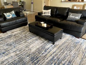 Black Leather Couch and Chair for Sale in Cypress Gardens, FL
