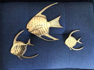 Vintage Mid-Century Boho Brass Fish Wall Hangings / Wall Art for Sale in Maple Valley, WA