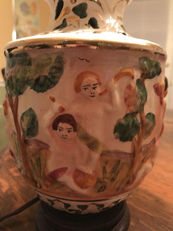 Antique cherub pierced & gilted Capodimonte lamp