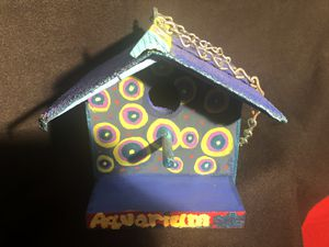 The Aquarium bird house. Bright colors, hand painted, hangs by a chain for Sale in Phoenix, AZ